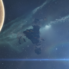 caldari fax wreck in front of planet