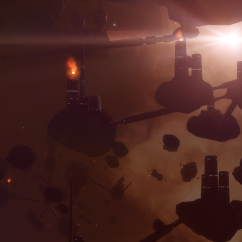 mining colony in space fog
