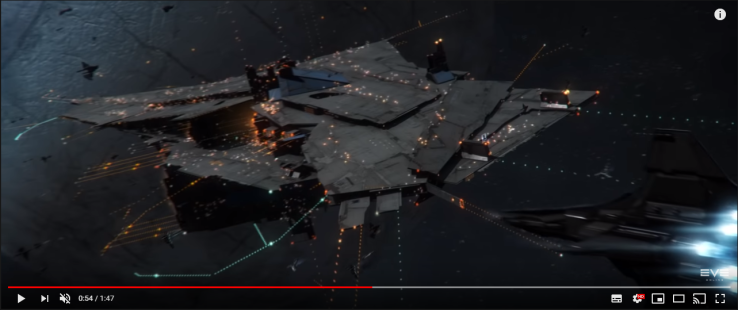 0054 CONCORD Enforcer approaching a Fortizar Citadel with mixed Gallente Minmatar fleet in front of it.